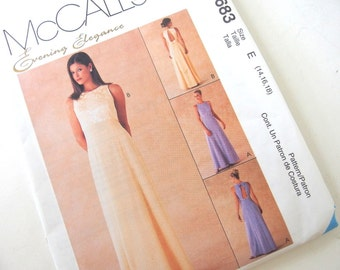 UNCUT Bridesmaids Dress Sewing Pattern McCalls 9683, Size 14, 16, 18, Bust 36, 38, 40 Inches