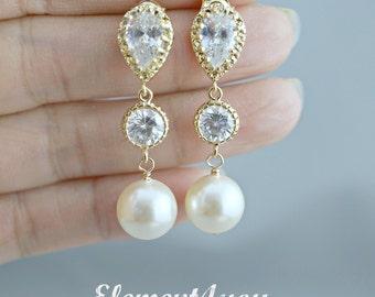 Pearl Wedding Earrings Crystal Pearl Bridal Earrings White Round Swarovski Pearl Earrings Gold CZ Post Earrings  Ivory Pink Champagne