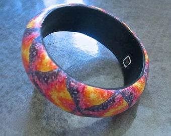Chevron Bangle, Tie-Dye Bracelet, Polymer Clay Bangle, Millefiori Bracelet, Handmade Bangle, Custom Jewelry, Statement Bangle, Wearable Art