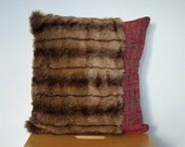 Faux fur decorative pillow cushion in browns and red