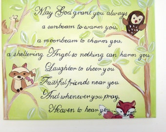 Irish blessing ,personalized baby gift,inspirational nursery art,woodland creatures,forest animals,Irish blessing for baby,baby blessings,
