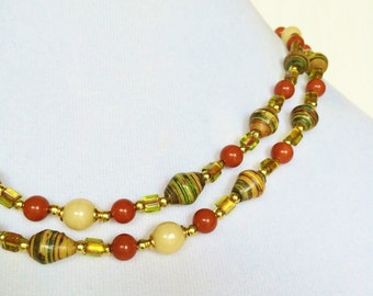 OOAK Multi Color 36 Inch Long   Red Yellow Green Gemstone Handmade Paper African Tribal Beads Czech Glass Ceramic Gold Accent Necklace