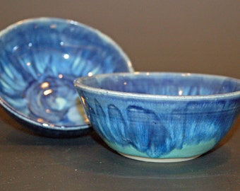 Set of 2, Blue and Green Pottery Bowls, Soup Bowls, Ice Cream Bowls, Nesting Bowls, Ceramics and Pottery