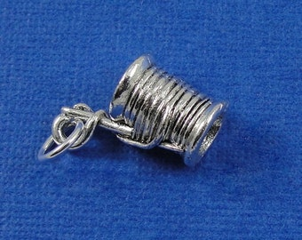 Spool of Thread Charm - Silver Plated Spool of Thread Charm for Necklace or Bracelet