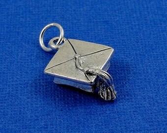 Graduation Cap Charm - Silver Plated Graduation Cap Charm for Necklace or Bracelet