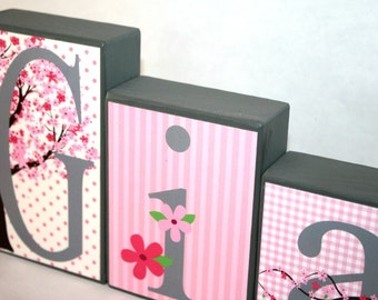 Gia Collection Personalized Blocks - Pink and Gray -Cherry Blossom Name Blocks-
