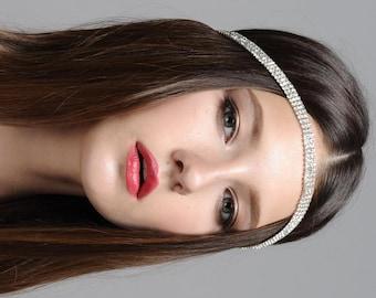 Boho Bridal Headband, Bridal Hairband, Bohemian Bridal Headpiece, BOHO Head Piece, Rhinestone Forehead Headband, Bridal Headpiece