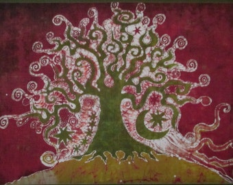 Linen Green Tree of Life Fabric Quilt Block 9""