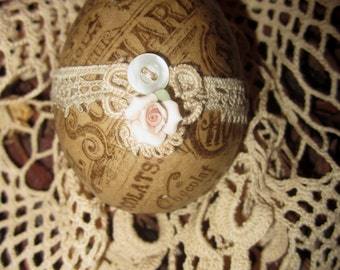 Vintage Lace Chocolat Cacao Ad Collage Easter Egg 3 Spring Decor