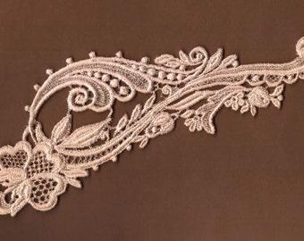 Hand Dyed Bridal Rose Venise Lace Applique  Vintage Blush