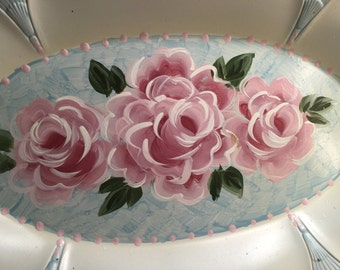 Estate Sale Shabby Chic Vintage Hand Painted Roses Ring Dish  Plate Collectible