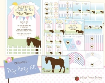 Custom Pony Birthday Party Printables Package