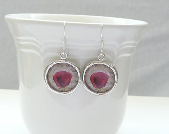 Rose Charm Dangle Earrings