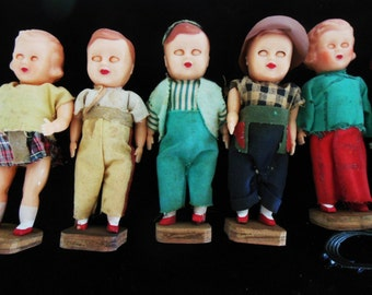 """Little People, Vintage Celluloid Children Dressed & Standing Up. Lot of 4"""" Kids, Supplies"""