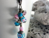 Turquoise and Pink Flower Lampwork Glass Bead Necklace - C.224