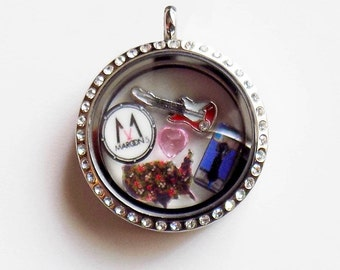 Maroon 5 Origami Inspired 30mm Rhinestone Locket with Charms