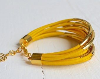 CLEARANCE  SALE : Yellow Leather Cuff Bracelet with Gold Tube Beads - Multi Strand Bangle Women's Bracelet ... DISCONTINUED