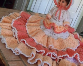 Eclectic Home Decor Vintage Bed Top Doll Boudoir Doll Crochet Shades of Peach with White