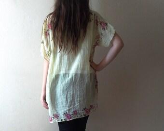 Lightweight summer tunic dress/ Cotton Boho Tunic/ Hippie Dress/ beach coverup