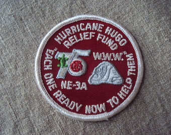 Vintage 1990 Hurricane Hugo Relief Fund Each One Ready Now To Help Iron On Sew On Patch