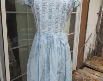 1950's     baby blue  Linen and lace   Lucy Rockabilly  Day Dress Womens