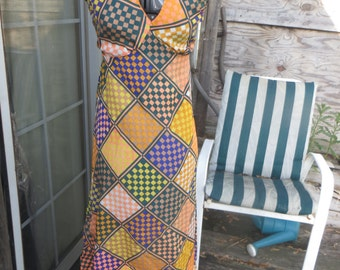 1970s HIPPIE BOHO    womens   summer psychedelic Atomic print  checkerboard  halter top sundress