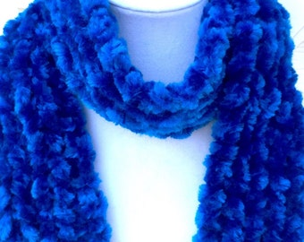 Hand Knit Scarf Deep Blue Soft Fashion Trendy Autumn Winter Ready To Ship