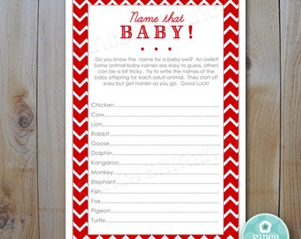Baby Shower Game Card / Name That Baby Game / Red Chevron / Instant Download / PRINTABLE / #242
