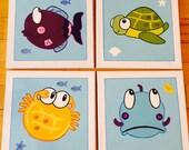 4 pc.Somethings Fishy Ocean Kids Bath Wall Art
