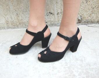 40s 50s size 5.5B Black Velvet peep-Toe - 40s Platform Pumps - 50s Platform Heels