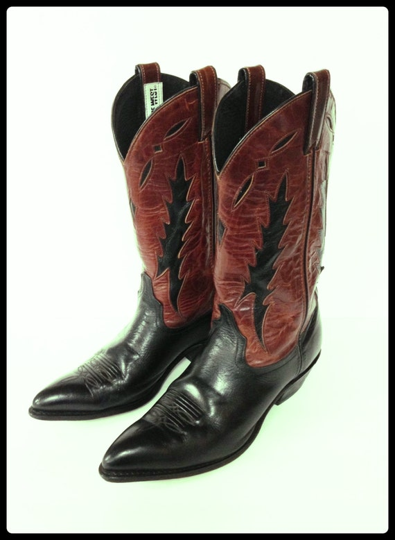 womens leather cowboy boots by code west size 9 m by