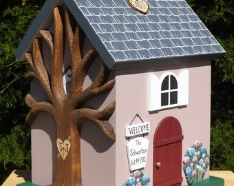 Large Wedding Card Box Cottage Birdhouse with Hydrangea Flowers and Painted Shingles