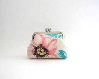 Floral Coin Purse -Frame Mini Pouch Mini Jewelry Case with Ring Pillow - watercolor floral