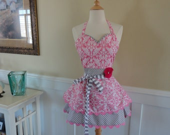 Pretty in Pink Damask ~  cute for Easter  Sadie Style ~ Women's Retro Modern Apron - 4RetroSisters