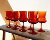 8 Game of Thrones Goblets Vintage Amber Glass Water Wine Stemware Barware