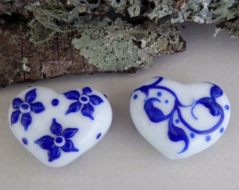 Destash 2x heart lampwork beads by Kerri Fuhr
