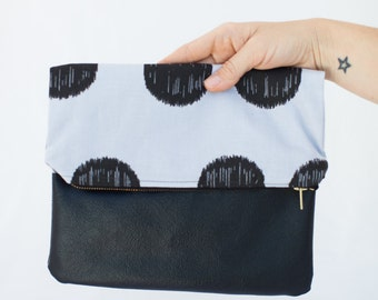 Polka Dot Foldover Lined  Clutch
