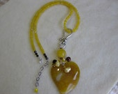 Yellow topaz necklace with yellow dragon vein pendant