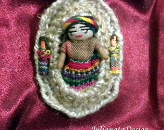 WORRY-DOLL BROOCH - Fiber Art Jewelry, Freeform Crocheted, Rustic Yet Delicate, Pure Italian Linen Base