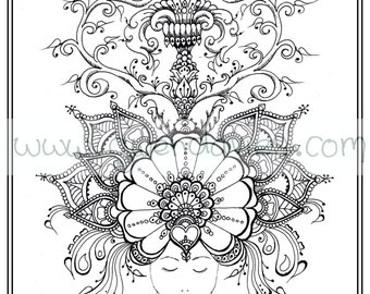 Adult Colouring In PDF Download Dream Relaxing Calming Mindfulness Henna Zen Mandalas Flower Anti Stress