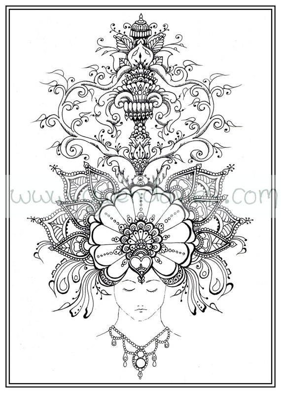 Adult Colouring In PDF Download Dream Relaxing Calming Mindfulness Henna Zen Mandalas Flower Anti Stress Flowers