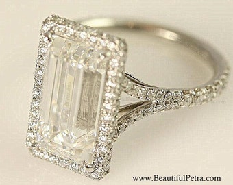 Stunning F/VVS2 - 2.00 carats total - GIA certified Emerald Cut Diamond engagement ring - Handmade - 14K white gold - Bph027