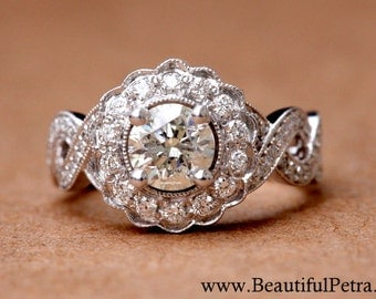 Vintage style flower Halo  - 14K Diamond Engagement Ring - 1.00 carats total - with miligrain - Bph029