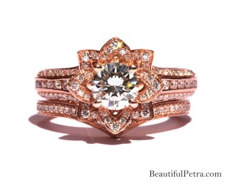 Rose Gold - Wedding SET - UNIQUE Flower Rose Diamond Engagement Ring and Wedding band set - 2.55 carats - 14K - fL01-S