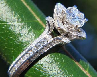 Gorgeous UNIQUE Flower Rose Diamond Engagement Ring - 14K white gold - wedding - brides - custom made - art deco - fL01