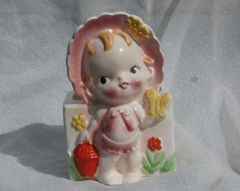 Vintage Baby in Pink Bonnet  Planter Made in Japan Pink and Yellow