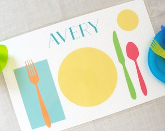 Learn to Set the Table Placemat | Personalized Childrens Placemat | Kids Placemat | Learning Placemat