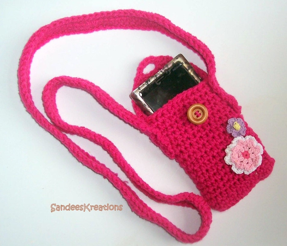 Crochet Purse Cell Phone Bag iphone Case by SandeesKreations