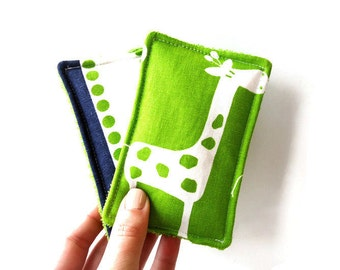 Reusable Sponges or UnSponges Heavy Duty Set of 2 Terry Cloth and Cotton - Giraffe Navy and Green