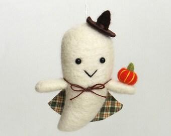 Ghost Halloween figurine - needle felted ornament, felt orange pumpkin, plaid cape, cute fall decor